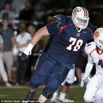 The 7-foot, 400-pound lineman, 17, has sights on the NFL